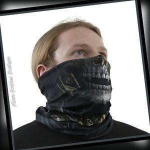 Spiral SteamPunk Fack Wrap, Mask, Scarf Black Goth